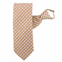 Pink X-Long Crisscross Pattern Zipper Tie #353