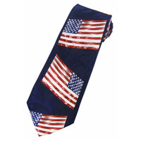American Flag Tie on Navy