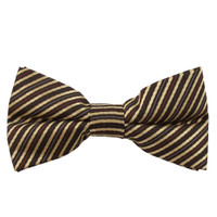 Brown, Tan & Red Stripe Band Bow Tie