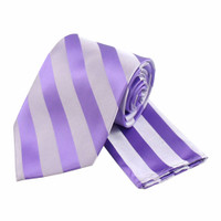 Boys Tone on Tone Stripe Tie & Hanky Set #401 - Lilac