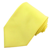 X-Long Solid Light Yellow Polyester Tie
