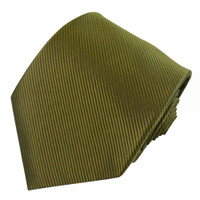 Olive Solid Color Silk Ribbed Tie