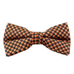 Orange & Black Square Pattern Clip On Bow Tie