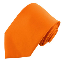 X-Long Solid Orange Polyester Tie