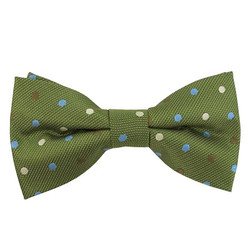 Olive with Blue & Cream Dots Clip on Bow Tie