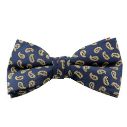 Navy & Gold Paisley Clip On Bow Tie