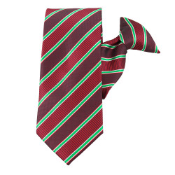Holiday Stripe Burgundy Striped Clip On Necktie