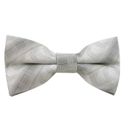 Silvery Thatched Pattern Clip on Bow Tie