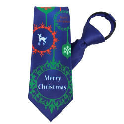 Merry Christmas Ornament Tie Zipper Tie