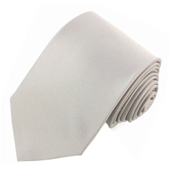 Pale Silver Solid Polyester Tie