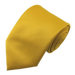 X-Long Solid Mustard Gold Polyester Tie