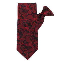 Red Paisley Beauty X-Long Clip on Tie