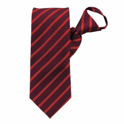 Red Stately Stripes Zipper Tie