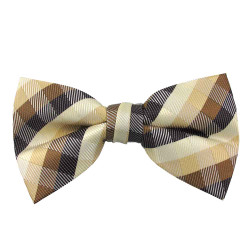 Brown & Beige Plaid Band Bow Tie