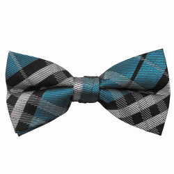 Turquoise Plaid Band Bow Tie