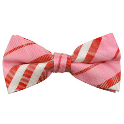 Pink Plaid Band Bow Tie