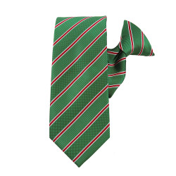 Holiday Stripe Green Striped Clip On Necktie