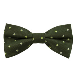 Dark Green & Lime Pattern Band Bow Tie