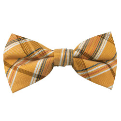Tangerine Plaid Band Bow Tie