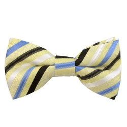 Pale Yellow with Blue, Black & White Stripe Band Bow Tie