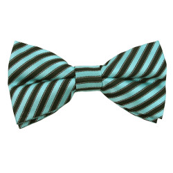 Turquoise & Black Stripe Band Bow Tie