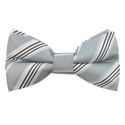Silver Regimental Stripe Band Bow Tie