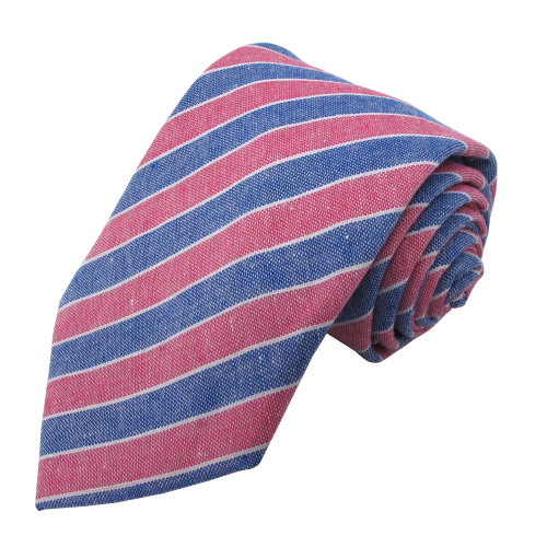 Red & Denim Carson Variegated Linen-Cotton Tie