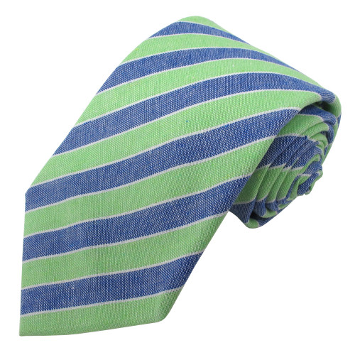Green & Denim Carson Variegated Linen-Cotton Tie