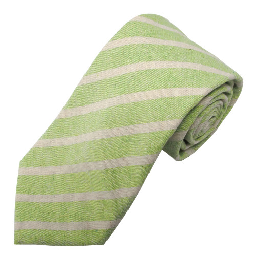 Green Emery Variegated Stripe Linen-Cotton Tie