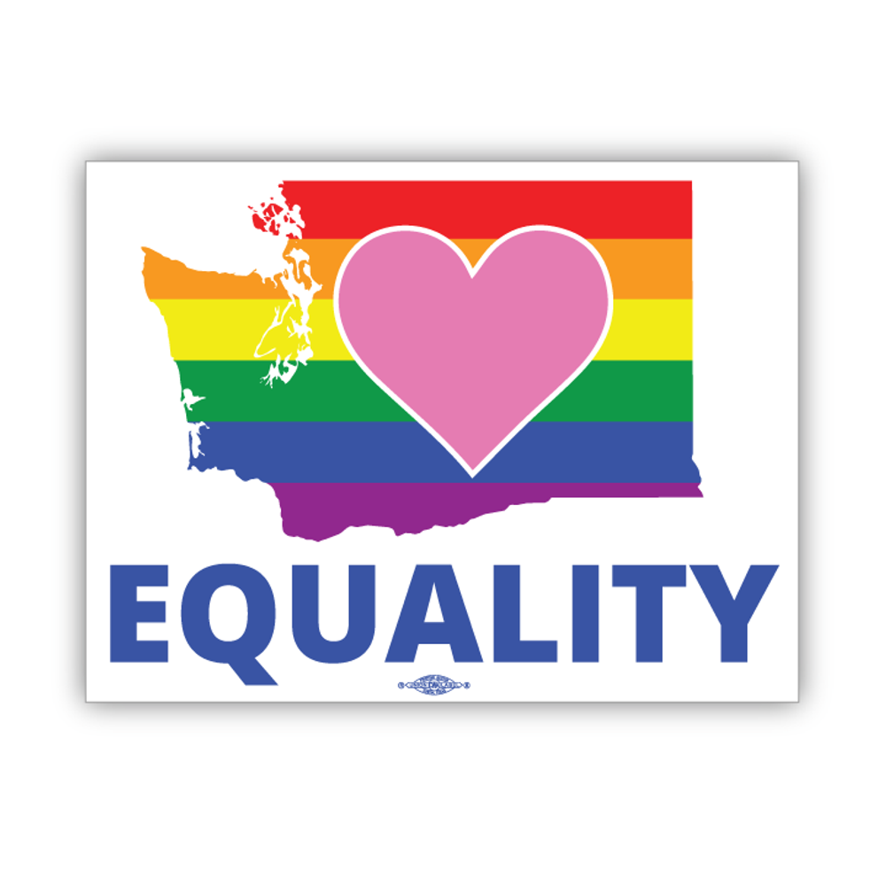 "Equality Washington Democrat  (6"" x 4.5"" Vinyl Sticker -- Pack of Two!)"
