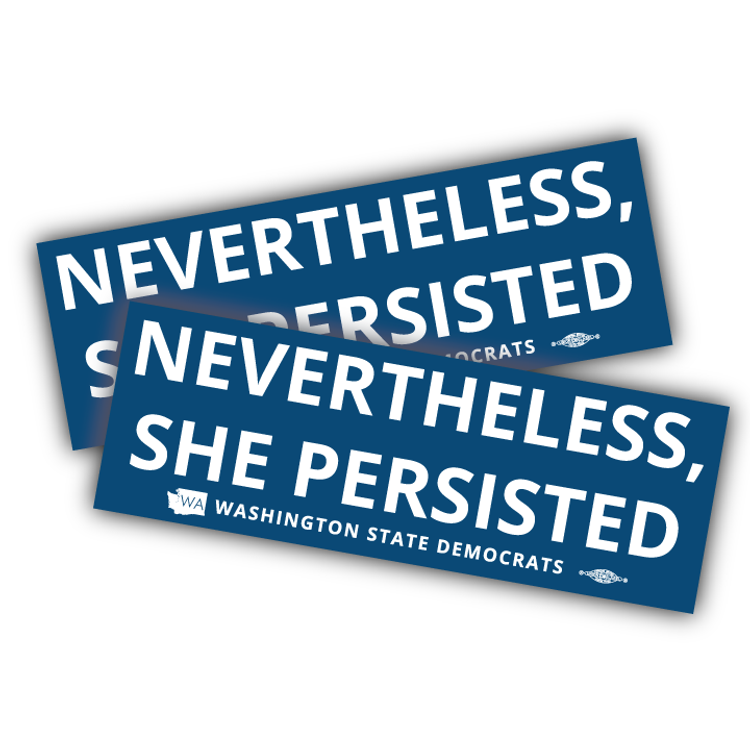 """Nevertheless, She Persisted"" logo graphic on (9"" x 3"" Vinyl Sticker -- Pack of Two!)"