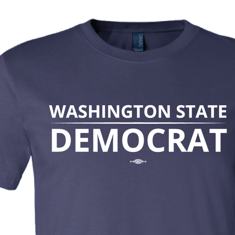 """Washington State Democrat"" logo graphic on (Navy Tee)"