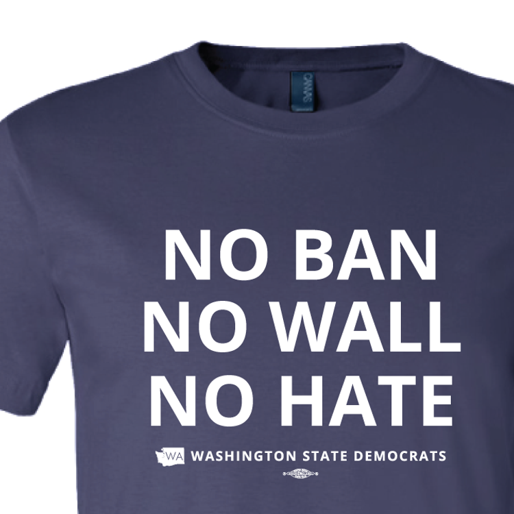 """No Ban, No Wall, No Hate"" logo graphic on (Navy Tee)"