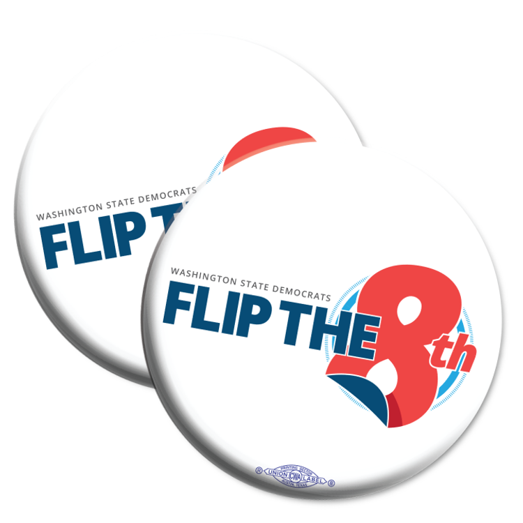 "Flip The 8th (2.25"" Mylar Button -- Pack Of Two!)"