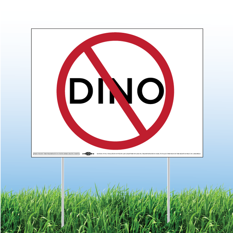 "No-DINO (24"" x 18"" Coroplast Yard Sign)"