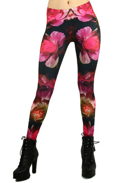 Front side  image of WOLVintageroses - Wholesale Brushed Graphic Leggings