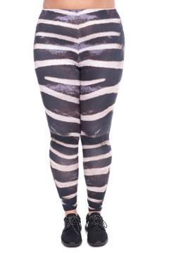 Front side  image of WOLZebrafurX - Wholesale Brushed Graphic Plus Size Leggings
