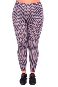 Front side  image of WOLChainmailX - Wholesale Brushed Graphic Plus Size Leggings