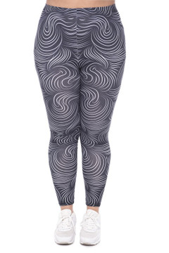 Front image of WOLHairX - Wholesale Brushed Graphic Plus Size Leggings
