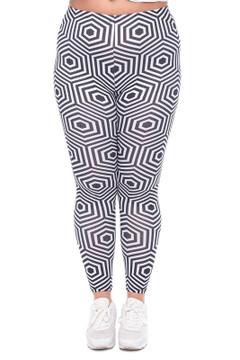 Front image of WOLHypnoseHexagonX - Wholesale Brushed Graphic Plus Size Leggings