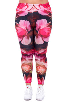 Front image of WOLVintagerosesX - Wholesale Brushed Graphic Plus Size Leggings