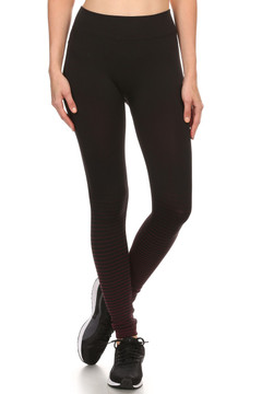 Front image of Wholesale Fleece Lined Striped Leggings