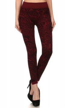 Front image of Wholesale Paisley Fleece Lined Leggings