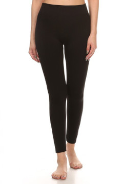 Front image of Wholesale Premium Cotton Fleece Lined Leggings
