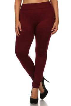 Front image of Wholesale Premium Fleece Lined Plus Size Leggings