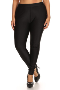 Front image of Wholesale Smooth Shiny Fleece Lined Plus Size Leggings