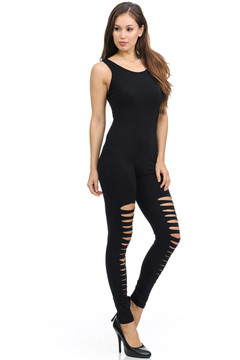 Side image of Wholesale Thigh Shred Cotton Jumpsuit