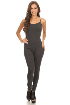 Front side image of Wholesale USA Spaghetti Strap Cotton Tank Jumpsuit