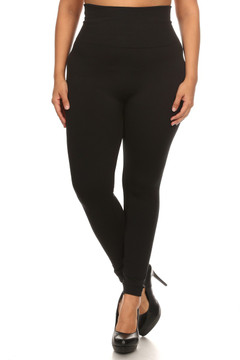Front side image of Wholesale High Waisted Cotton Plus Size Leggings