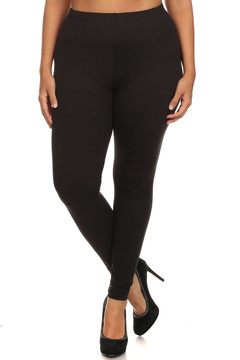 Front side image of Wholesale USA Cotton Full Length Plus Size Leggings